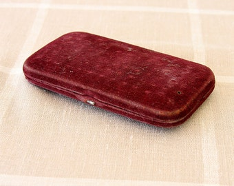 Vintage pocket warmer Antique hand warmer with charcoal sticks Fuel burning case Red velvet old pocket warmer Hiking Climbing Camping
