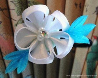 Blue and White Kanzashi Hair Flower