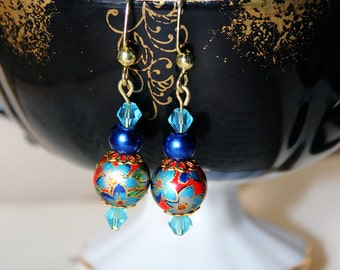 Red and Blue Tensha Earrings!
