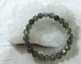 Natural Round Labradorite Crystal Bracelets, Greyish Green Crystal, Unique Gifts, 8mm beads and 10mm beads