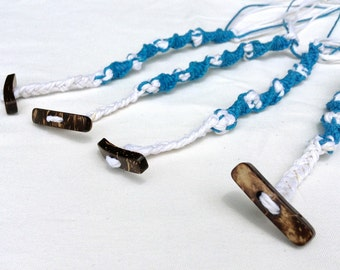 Double Helix Spiral Tzitzit 100% Hemp w/ Coconut Toggle Buttons