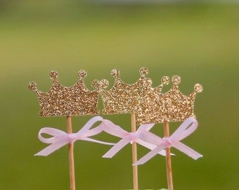 12 Crown Cupcake Toppers, Crown Birthday Party Decoration, Princess Party, Crown  Baby Shower