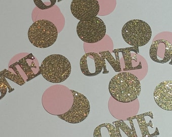 Deluxe Gold and Pink Birthday confetti, Table scatter, glitter confetti, party decorations, 1st birthday