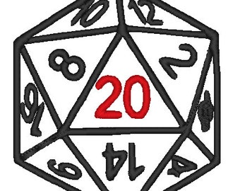 D20 Dice Applique Machine Embroidery Dungeons & Dragons DnD Nerd Embroidery Geek PES Files Only Instant Download