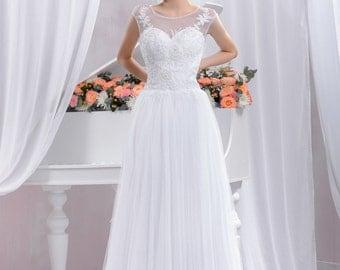 Long Slim Wedding Dress, Lace Wedding Dress A-silhouette