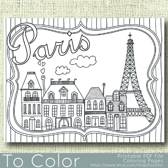 printable paris coloring page for adults pdf jpg instant download coloring book coloring sheet grown ups digital stamp - Paris Coloring Book