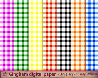 Gingham digital paper, picnic table cloth, checker napkin, scrapbooking, commercial use, digital instant download, jpg 300dpi