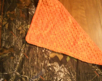Blanket, baby, Mossy Oak, Camouflage, hunting, bedding, minky, orange