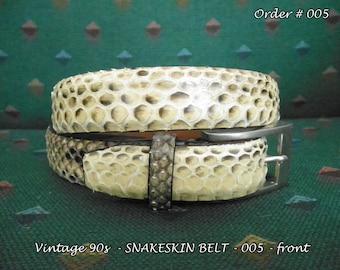 "Skinny Belt Sale * Women's Genuine Snakeskin * Vintage 90s * Size: P / Petite (26"" - 30"")"