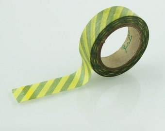 Yellow & Green Diagonal Stripe Washi Tape // 15mm // Paper Tape // BBBsupplies {CR-W-S032}