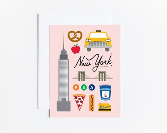 New York City Greeting Card Illustration Travel Notecard