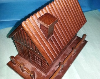 Log Cabin Music Box, Village  Christmas village cabin house