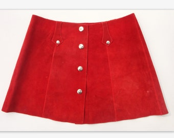 Funky Girly 70s Vintage Skirt // Suede // Size 30