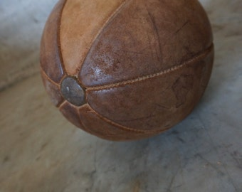 Vintage Leather Medicine Ball, 20th Century