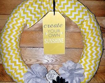 Summer wreath, Yellow  Wreath, Sunshine wreath, ribbon wreath, shabby chic wreath,  cottage wreath, inspirational wall decor, chevron wreath