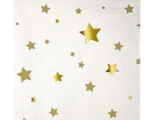 Paper napkins - white with gold foil stars. Set of 16. Gold star napkins. Twinkle Twinkle Little Star party napkins. Gold cocktail napkins.