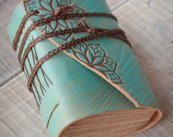 Turquoise Leather Journal, Handbound Journal
