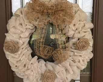 Rustic Cream Burlap Wreath
