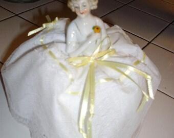 """5 1/4"""" tall Porcelain Pincushion Doll"""