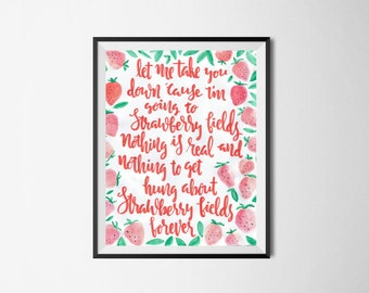 Strawberry Fields Forever, The Beatles lyrics artwork. Instant Download.