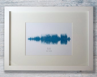 Personalised sound wave print in a quality wooden frame.