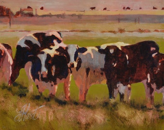 Cow painting, Cow Oil Painting, Cows, Oil Print, Cow Line Up, Farm Animals