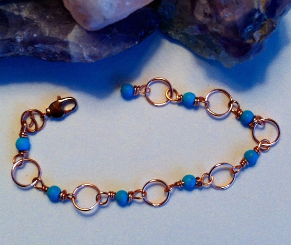 7 copper and turquoise bracelet by alisonsgemstones on etsy