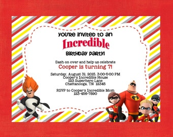The Incredibles,The Incredibles Invitation,Superhero Invitation,Superhero,Super Hero,Printable Invitation, Invite, Superheroes,FREE SHIPPING