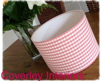 Handmade 30cm pink gingham lamp/light shade