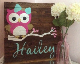 Customized Owl Nursery Wooden Sign