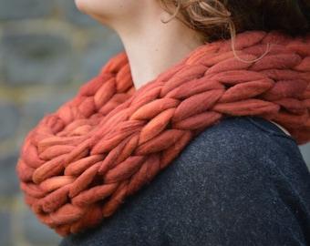 Chunky Knit Infinity Scarf - Pure Merino Wool Snood