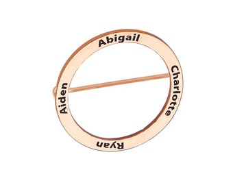 Up to 4 names Brooch - 1 inch to 3 inches any names silver Circle Brooch in 18k rose gold plated 925 sterling silver - Best gift for moms