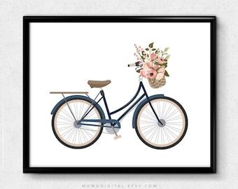 SALE -  Floral Bicycle, Shabby Chic Print, Modern Print, Bicycle Poster, Floral Poster, Floral Print, Colorful Print, Minimalism