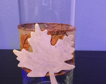 Thanksgiving or Fall Theme Vase or Candle Holder with Gold Leaf