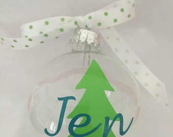 Personalized Glass Ball Ornament, 70mm, Tree