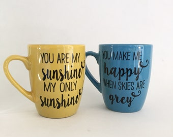 Set of 2 You are my sunshine coffee mugs