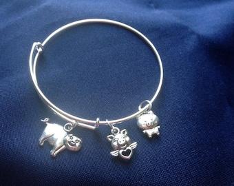 3 Little Pigs- Expandable bangle bracelet