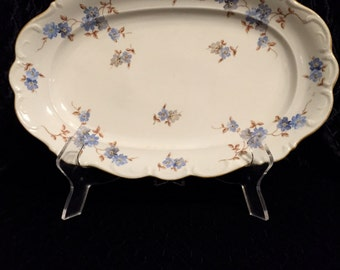 VIntage Schumann Porcelain Platter with blue and tan floral design 1940s
