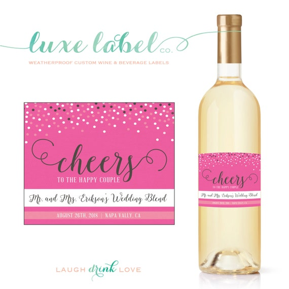 Personalized Wine Labels For Wedding Gift : Custom