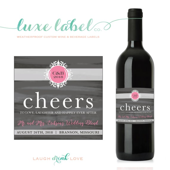 Wedding Engagement Wine Label Pdf: Custom Wedding Wine Label Cheers To Love