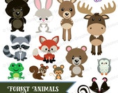 Forest Woodland Animals Clipart - Instant Download File - Digital Graphics - Cute - Crafts, Web, Party - Commercial & Personal Use - #A010
