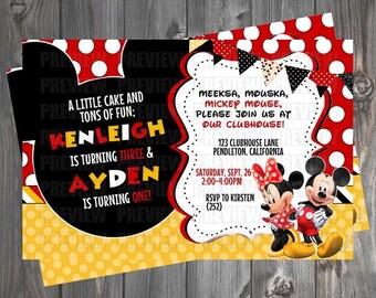 Mickey & Minnie Mouse Double Birthday Invitation