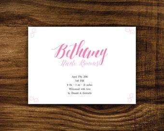 Bethany - Printable Birth Announcement