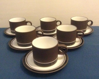 6 Vintage 1970s Hornsea Contrast Cups & Saucers Superb Condition