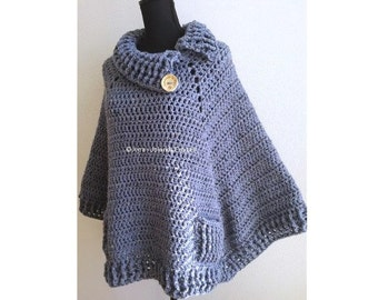 PATR0966 - Xyra Crochet-pattern - Square poncho with collar and pockets (Dutch & English-US)