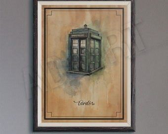 Tardis of Doctor Who illustration limited edition watercolor copy