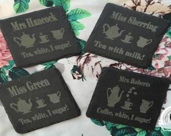 Personalised Natural Slate Tea & Coffee Coasters (Set of 4)