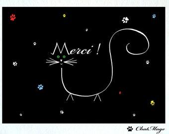 Postcard, 1 or 2, postcards, cat, ChatMage, merci, cat postcard, thank-you card, merci card, Merci postcard, thank you postcard, minimalist