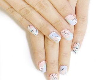Pastel Soft Marble Nail Wraps/ Designer Nail Stickers ( 22pcs)