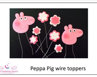 Edible Fondant Peppa Pig Cake Toppers On Wire